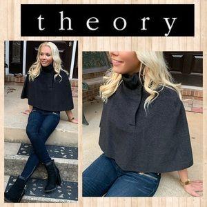 Theory Gray Virgin Wool & Angora Blend Cape SMALL